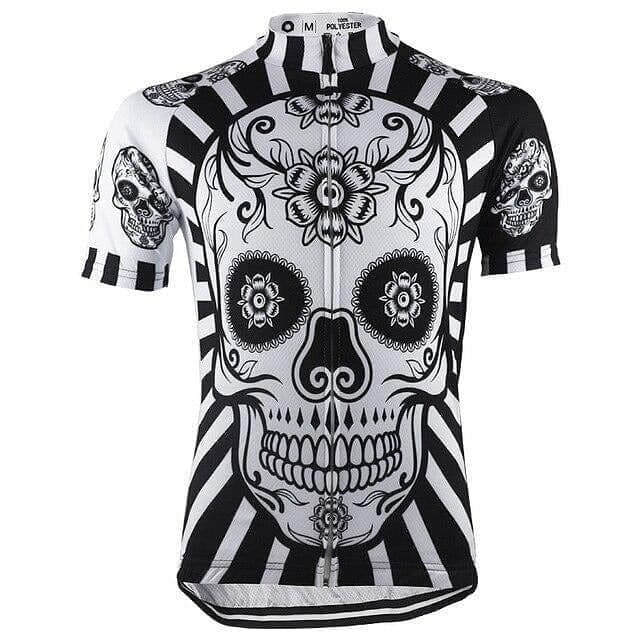 Flower Skull Print Cycling Jersey - Granny Gear