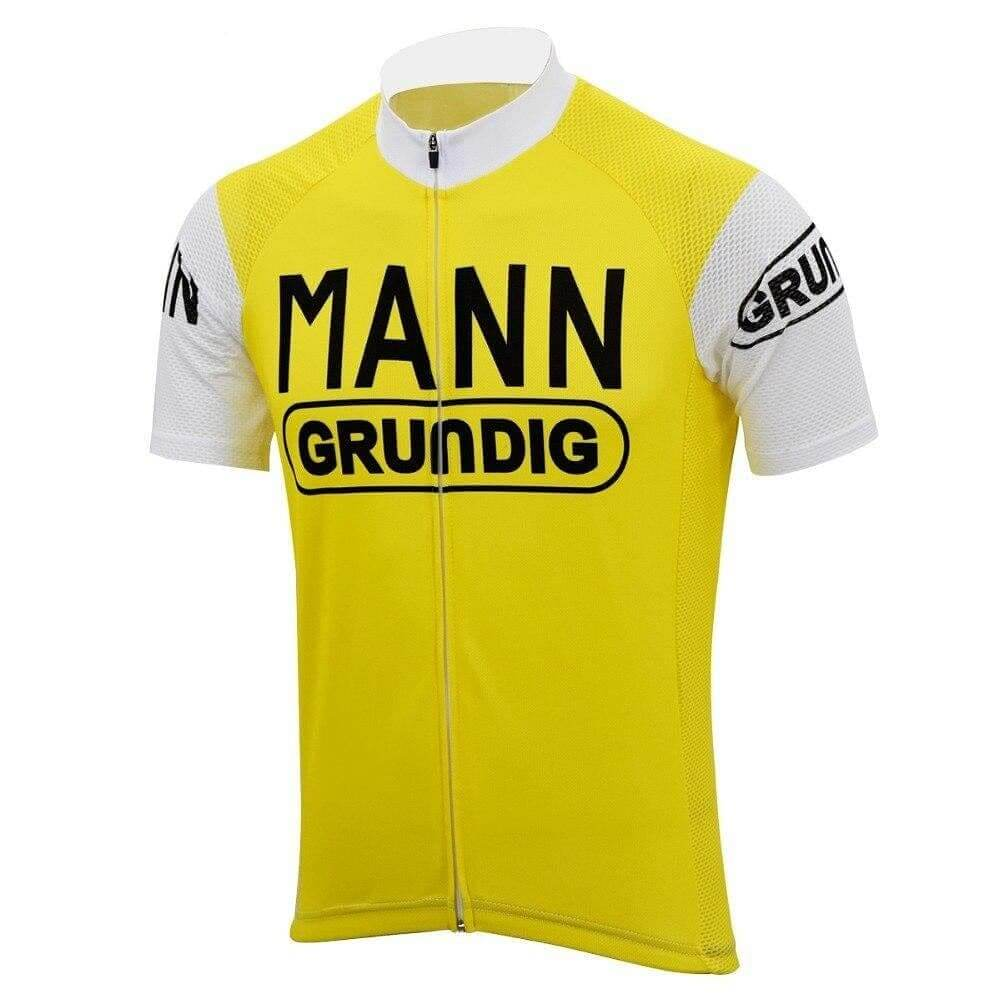 Dr. Mann Grundig Retro Cycling Jersey - Short Sleeve - Yellow - Granny Gear