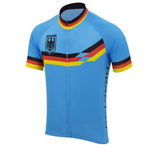 Retro Blue Germany Deutschland Cycling Jersey - Granny Gear