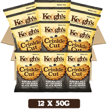 Load image into Gallery viewer, Crinkle Cut Atlantic Sea Salt and Crushed Black Pepper Crisps 12x50g
