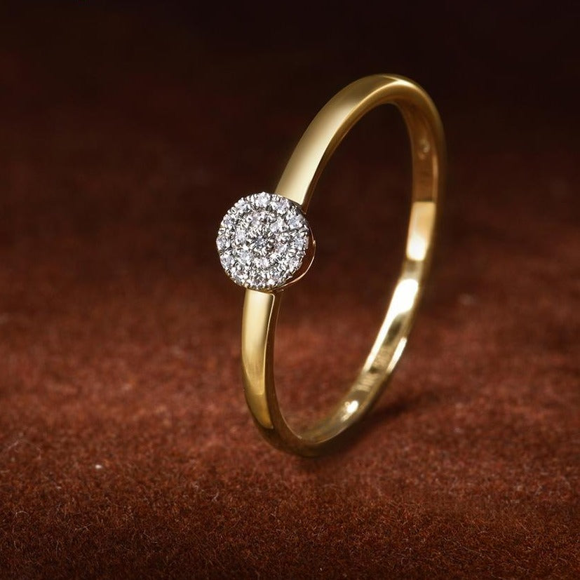 Pure 14K Yellow Gold Sparkling Diamond Ring