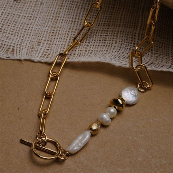 Round buckle necklace natural pearl gold