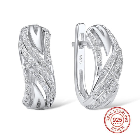 Silver Fashion Jewelry Sparkling Earrings