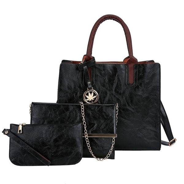3Pcs Leather Ladies Bag Set