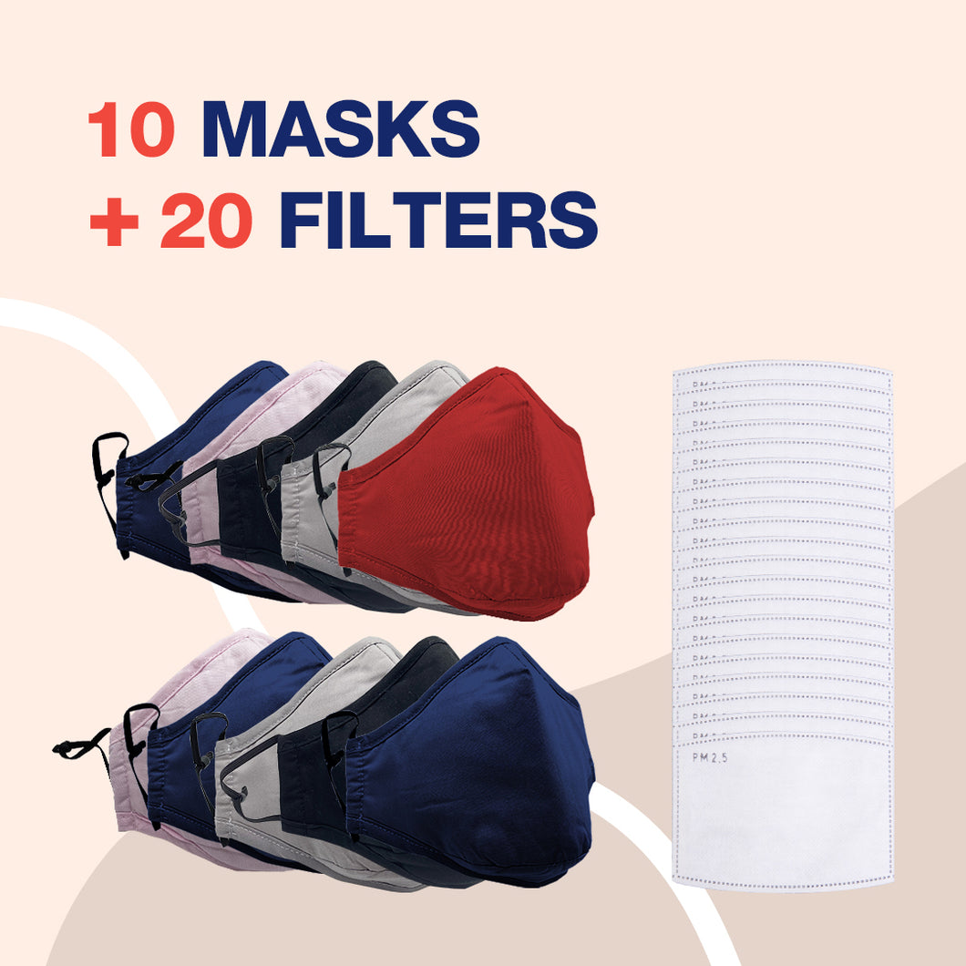 Reusable Multi-Layer Cotton FACE COVERS - 10 Masks