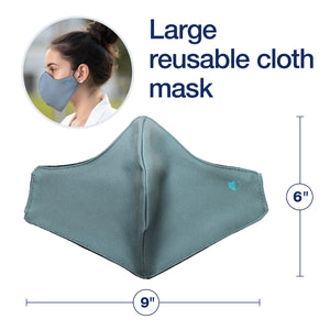 4 Large Reusable Cloth Face Covers + 2 Extender Straps