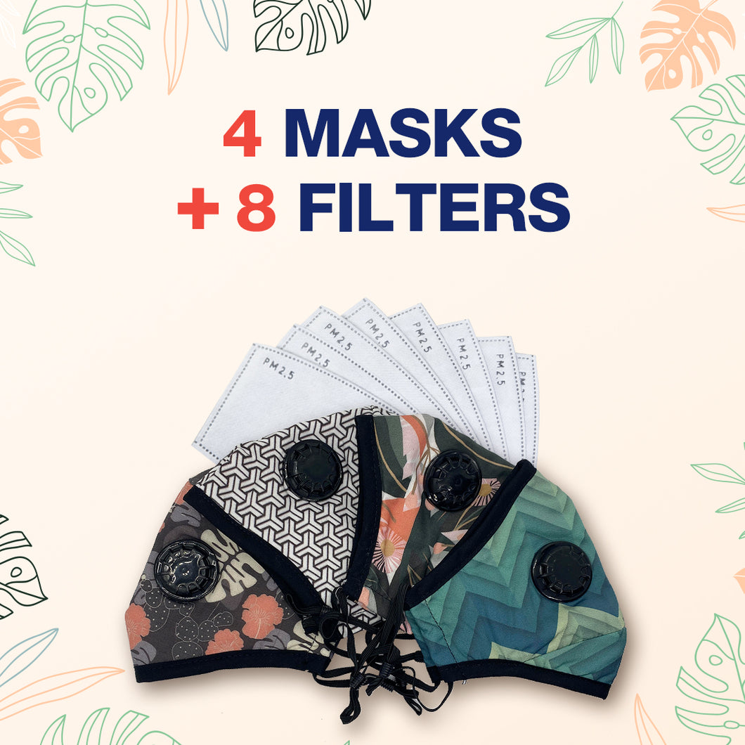 Designer Reusable Multi-Layer Cotton Face Covers - Package Deals