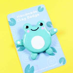 Cute Frog clay badge - Bronte Laura Illustration