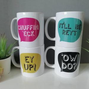 Yorkshire sayings Mugs - Ow Do - It'll Be Reyt - Ey Up - Chuffin Eck - Fred & Bo - Yorkshire Slang