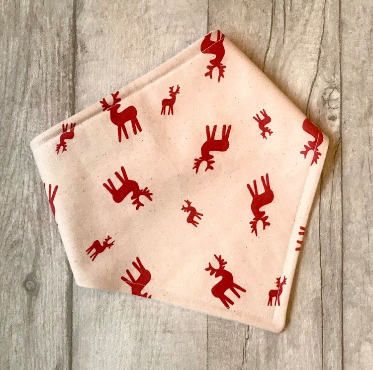 Bandana Bib - Cream/Red stags baby bib - baby, toddler gift - Sewn by Sarah - Christmas