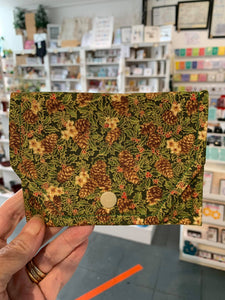 Fabric Purse - card wallet - Green/Floral - Gemstone Boutique