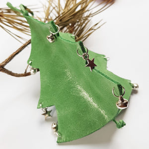 Leather Christmas Tree Decoration - Green - Shadowcrafts