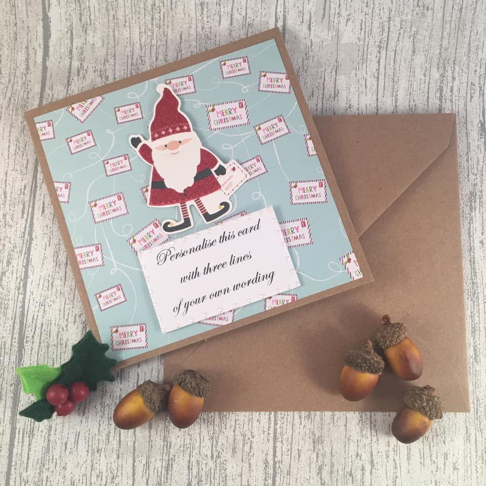 Personalised Christmas Card - Santa - Handmade by Natalie - Greetings card