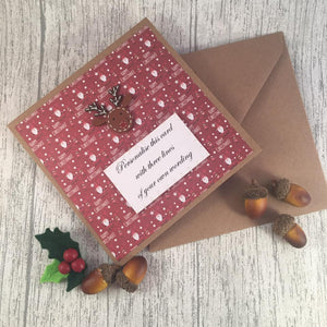 Personalised Christmas Card - Rudolph - Handmade by Natalie - Greetings card