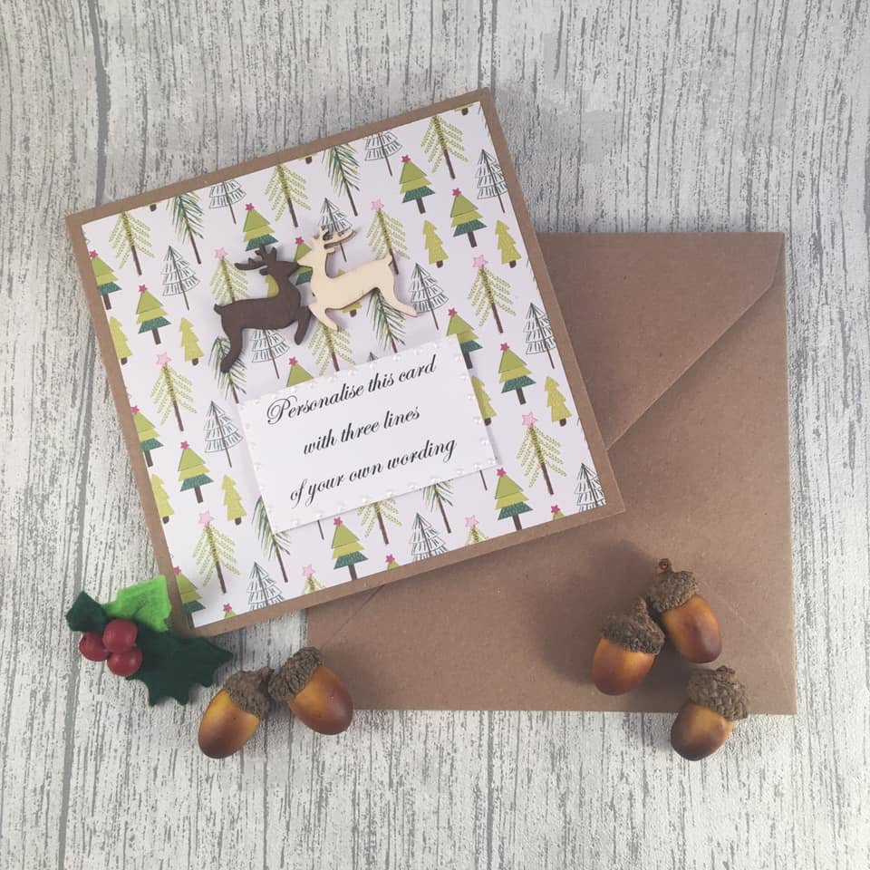 Personalised Christmas Card - Reindeers - Handmade by Natalie - Greetings card