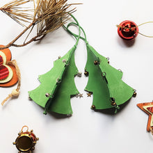 Load image into Gallery viewer, Leather Christmas Tree Decoration - Green - Shadowcrafts