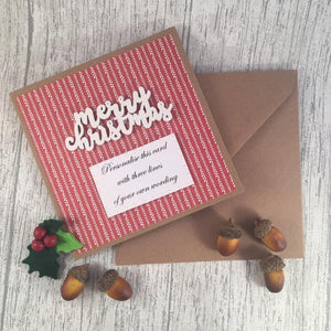 Personalised Christmas Card - Merry Christmas - Handmade by Natalie - Greetings card