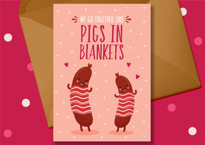 Pigs in Blankets Christmas Card - Blush and Blossom - Christmas Greetings