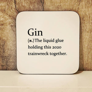 Gin Sarcastic dictionary definition coaster - 2020 - The Crafty Little Fox