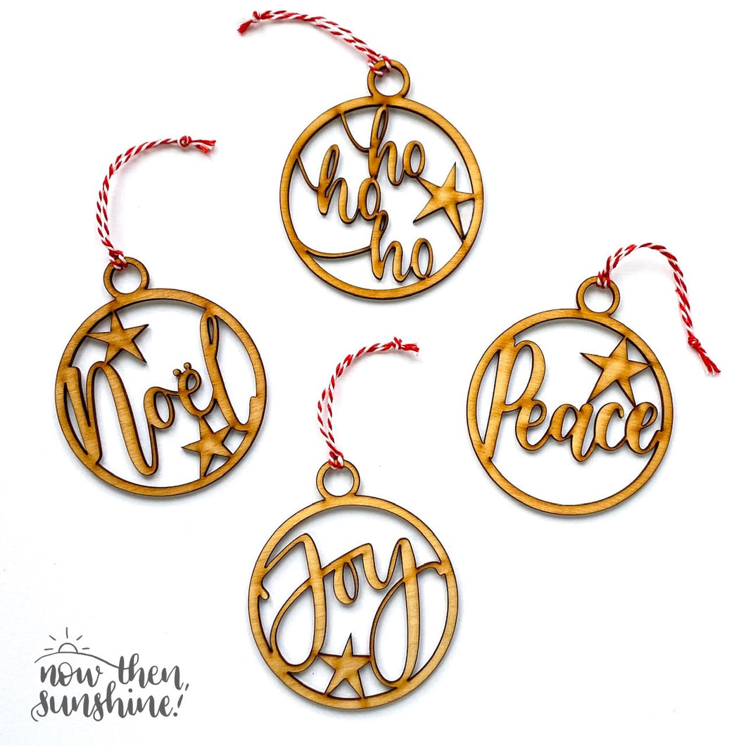 Wooden Calligraphy Cut Out Baubles - Christmas - Now then Sunshine - Christmas Decorations