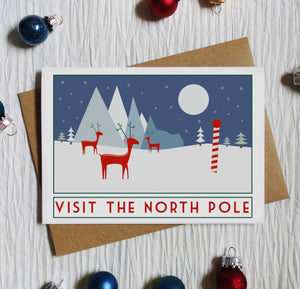 Visit the North Pole Christmas Card - Sweetpea and Rascal Travel poster inspired card - Christmas greetings