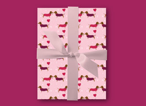 Sausage Dogs Gift Wrap - Dachshund Wrapping Paper - Blush and Blossom Paper