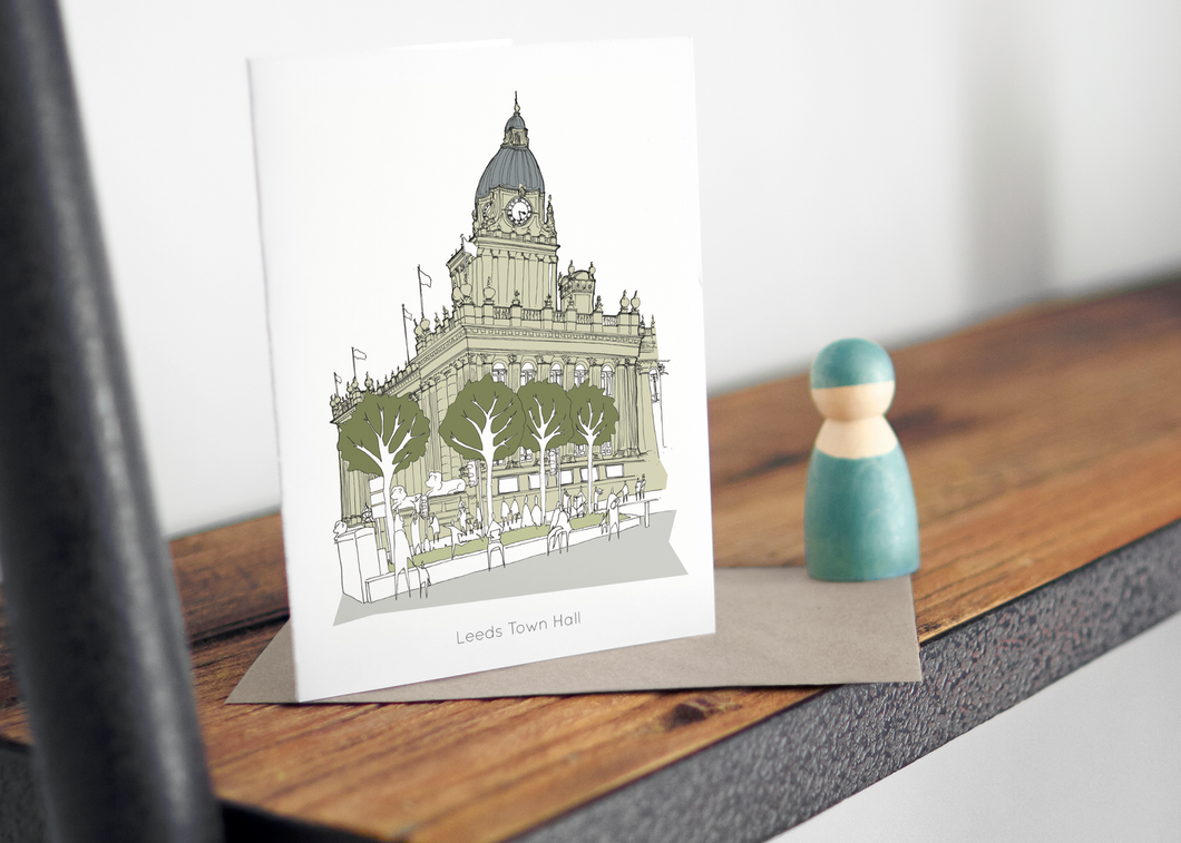 Leeds Town Hall Greetings card - Accidental Vix Prints - Leeds illustrations