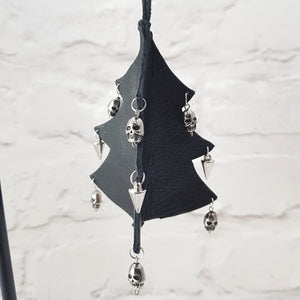 Leather Christmas Tree Decoration - Black - Shadowcrafts