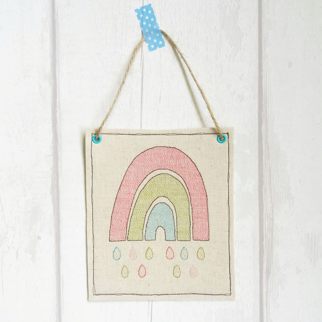 Rainbow Hanging fabric sign - motivational gift - Life's Little Blessings - Rainbows