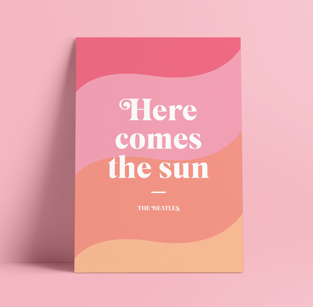 Lyrics Print - A4 - Here Comes the Sun - The Beetles - Blush and Blossom