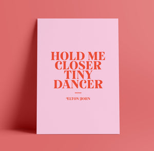 Lyrics Print - A4 - Tiny Dancer - Elton John - Blush and Blossom