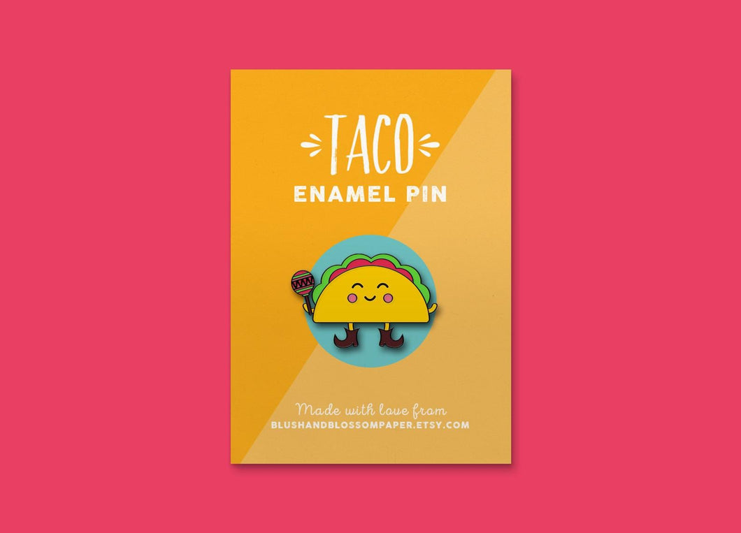 Taco Enamel Pin - Blush and Blossom