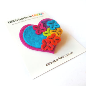 Felt Rainbow Garden Heart Brooch - Life is Better in Colour - Rainbow - Self Care