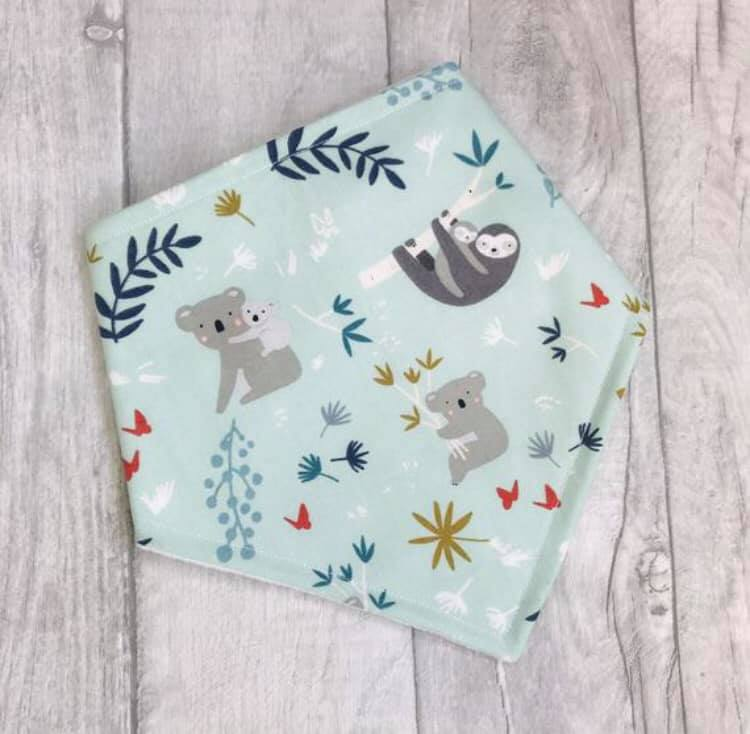 Sloth and Koala Bandana Bib - baby bib - baby, toddler gift - Sewn by Sarah