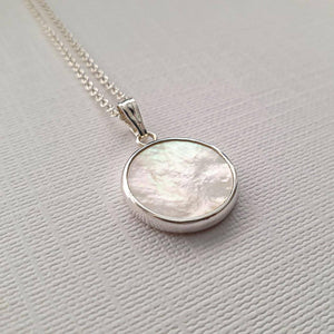 Sterling Silver Mother of Pearl necklace - Maxwell Harrison Jewellery - gift idea