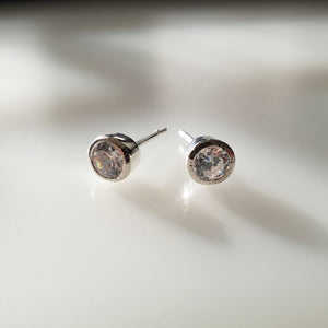 Sparkly Stud Earrings - Sterling Silver and Cubic Zircona studs - Maxwell Harrison Jewellery