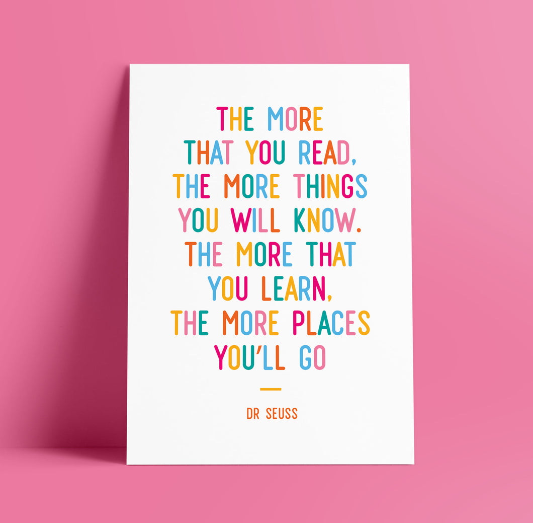 Print - Dr Seuss quote - The Places You'll Go - rainbow colours - Blush and Blossom