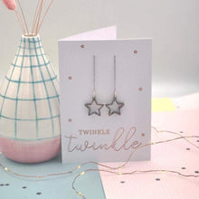 Load image into Gallery viewer, Cut out acrylic Star Thread Earrings Christmas Card - Laura Fernandez Designs - Glitter star earrings