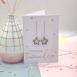 Cut out acrylic Star Thread Earrings Christmas Card - Laura Fernandez Designs - Glitter star earrings
