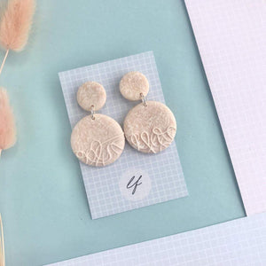 Blush Pink handrolled Earrings - Polymer clay - Laura Fernandez Designs