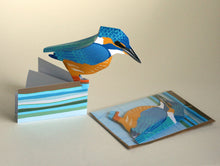 Load image into Gallery viewer, Pop Up Greetings Card - Kingfisher - Bird Sculpture - Faye Stevens Design - Papercraft
