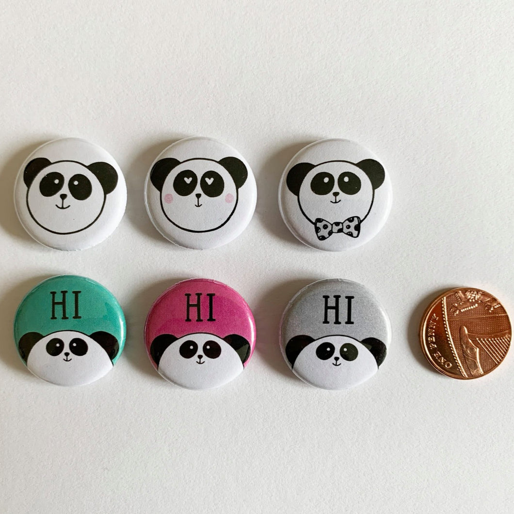 Panda Badge set - Hu and Mee - Pack of 6 - mini button badges