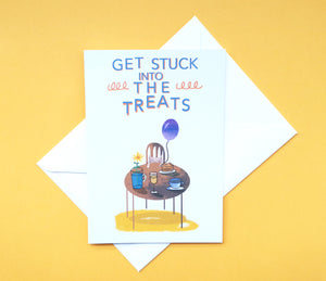 Get stuck into the treats - greetings card - Illustrator Kate
