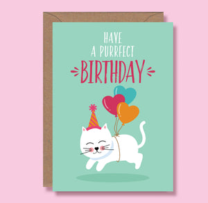 Cat Birthday card - Blush and Blossom - Have a purrfect birthday - cat lovers