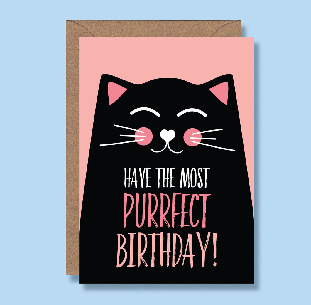 Cat Birthday card - Have the most Purrfect birthday Blush and Blossom - Black cat - cat lovers