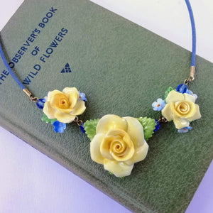 Yellow and Blue Roses Vintage China Flowers Necklace - Urban Magpie - statement china jewellery