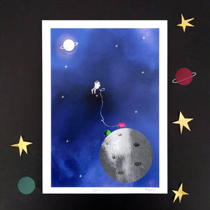 Space print - Illustrator Kate - A4 print - Moon, Stars, Planets