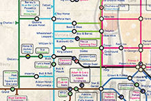 Load image into Gallery viewer, Order Around Leeds Pub Map Poster Bygone Edition - London Underground style Poster - History of Leeds pubs