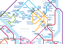 Load image into Gallery viewer, Order Around Pub Map Poster - York City Edition - London Underground style Poster - Pub Map York