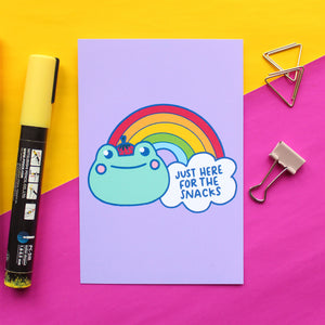 Just Here for the Snacks - Frog A6 postcard Print - Bronte Laura Illustration